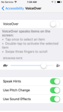 app uses voice over settings