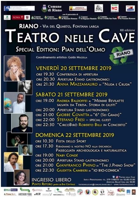"""Riano: Teatro nelle Cave: Special Edition - Pian dell'Olmo. Dal 20 al 22 settembre la """"Special Edition"""" del Teatro nelle Cave nello splendido scenario di Fontana Larga"""