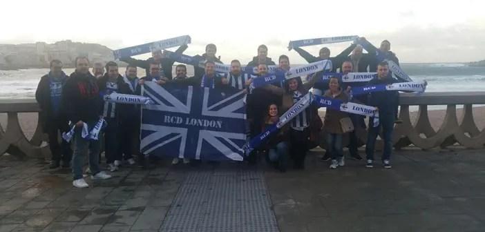 Peña RCD London en el Paseo antes del Dépor-Celta.