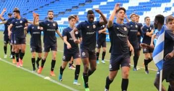 El Juvenil A durante el calentamiento previo al partido de vuelta de Copa del Rey frente al Sevilla