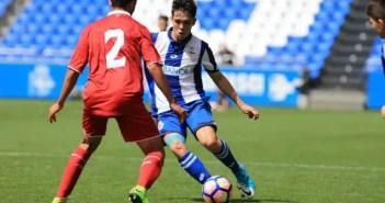Un lance del encuentro de Copa del Rey Juvenil entre Deportivo-Sevilla