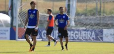 Carles Gil y Pedro Mosquera entrenamiento Deportivo Coruña 22 de agosto 2017