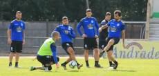 Arribas disparando contra Rubén Martínez en entrenamiento Vilalba del 8 de agosto 2017