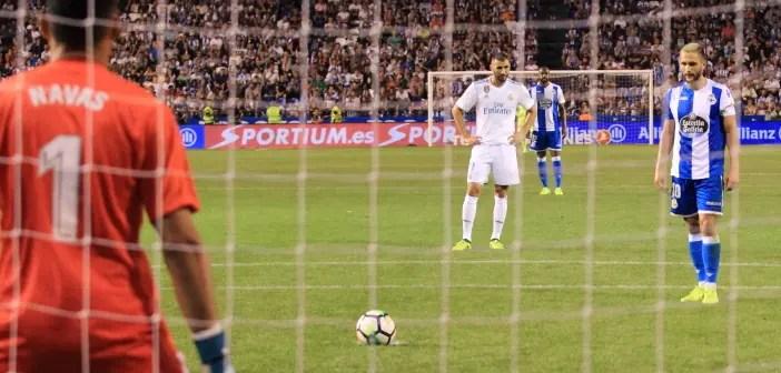 Florin Andone lanzamiento penalti: Deportivo - Real Madrid