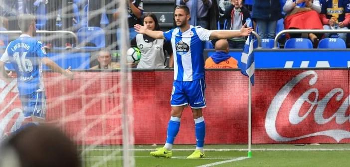 Florin Andone celebrando gol contra la Real Sociedad