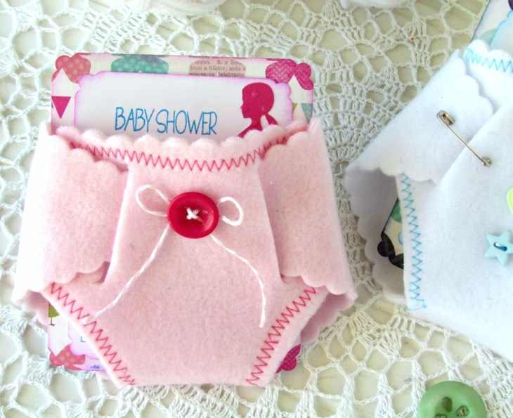 Baby Girl Felt Diaper Invitations made with a metal die, felt and  Silhouette. Such