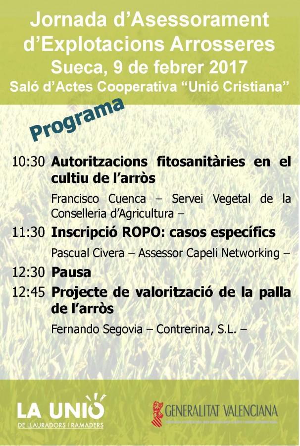 LA UNIÓ de Llauradors demà a Sueca una jornada monogràfica sobre el sector de l'arròs
