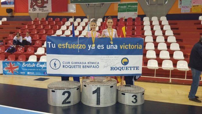 Nerea y Neus del Club Gimnasia Rítmica roquette Benifaió campeonas provinciales.