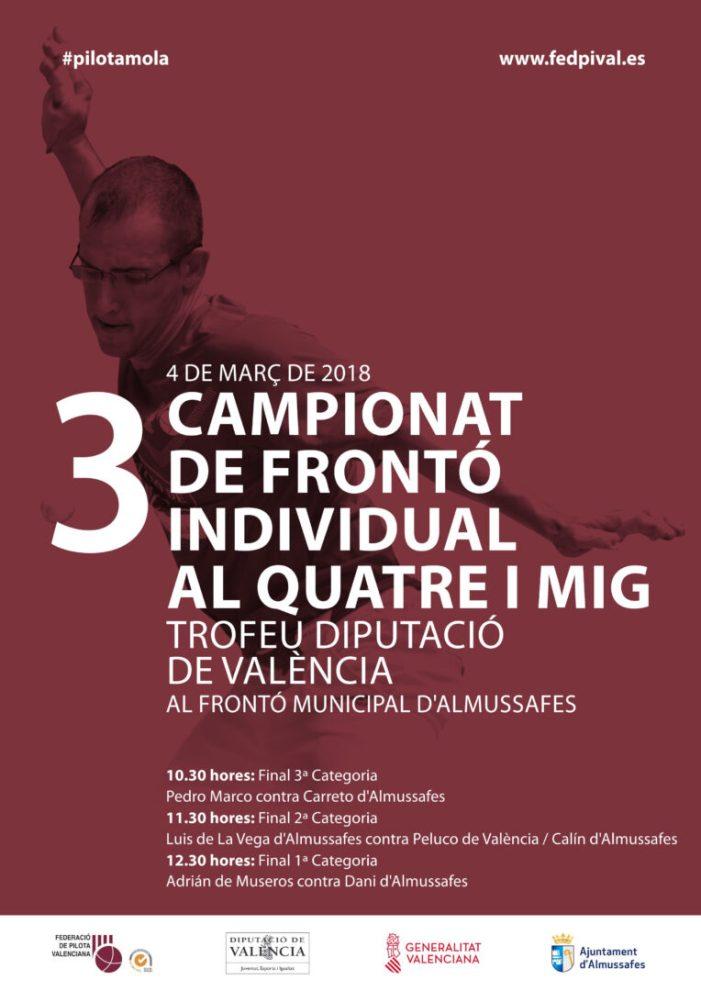 Almussafes acull aquest diumenge la final del Trofeu Diputació de València de pilota valenciana
