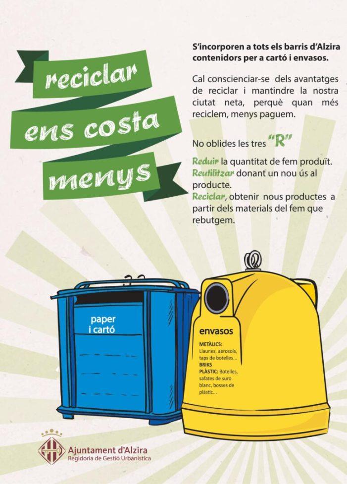 L'Ajuntament d'Alzira continua incorporant contenidors per a cartó i envasos als barris de la ciutat