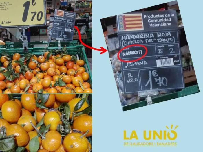 LA UNIÓ de Llauradors denuncia un nou frau al consumidor en etiquetar Orri per Nadorcott en una gran superfície