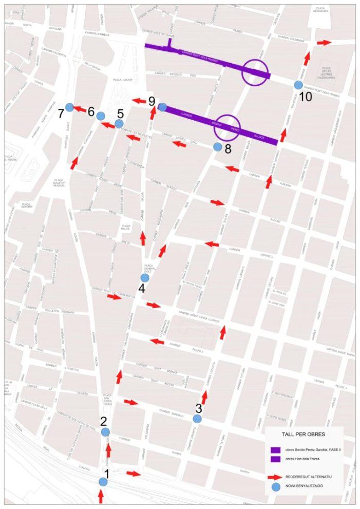 El dilluns 21 de maig es tanca el trànsit al carrer Reis Catòlics per les obres de condicionament de la segona fase al carrer Benito Pérez Galdós i les del carrer Hort dels Frares