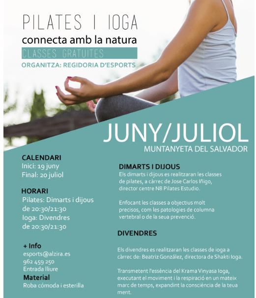 L'Ajuntament d'Alzira organitza classes gratuïtes de pilates i ioga a l'aire lliure