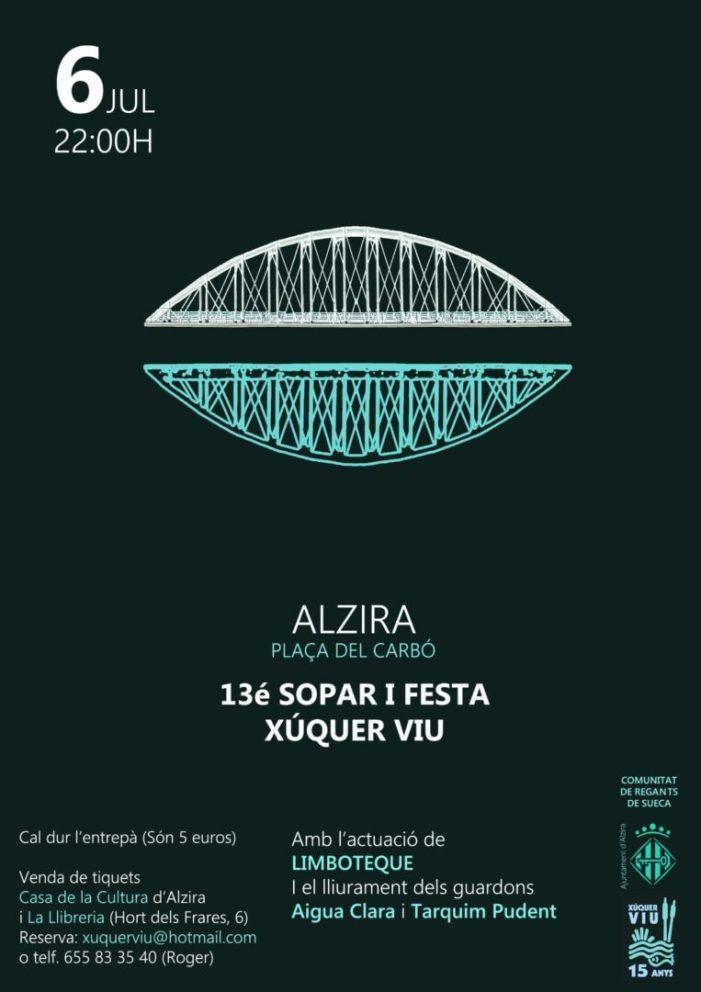 Alzira acullirà demà el 13é Sopar i Festa de Xúquer Viu