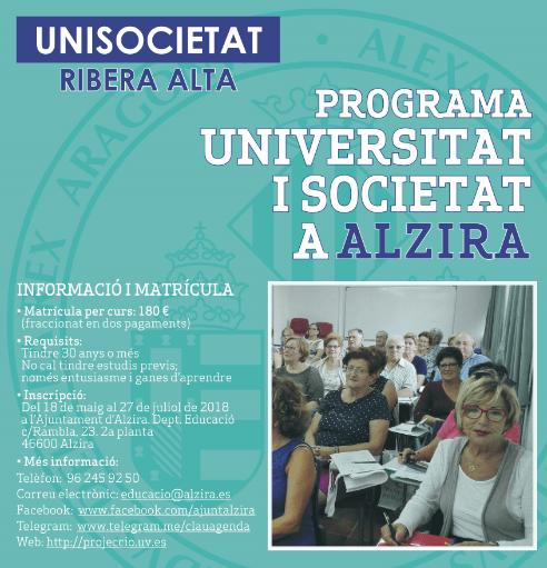 Continua oberta la matrícula per als cursos d'Unisocietat de 2018-2019