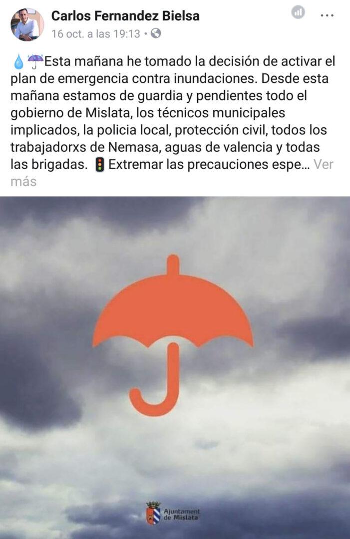 El govern de Mislata respon al PP que «el Pla d'Emergència Local està activat des de fa 48 hores»