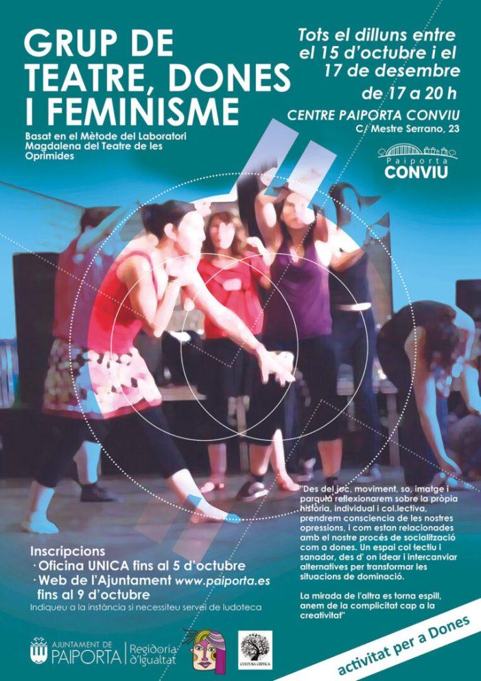 Oberta la inscripció per al taller un taller de teatre, dones i feminisme a Paiporta