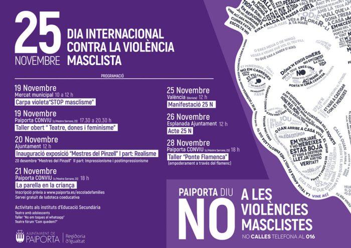 Teatre, tallers, exposicions i xarrades per a celebrar el 25N, Dia Internacional Contra la Violència Masclista, a Paiporta