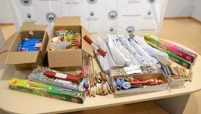 La Policia Local de Paiporta s'incauta d'uns 50 quilos de material pirotècnic furtat en mans d'un grup de quatre menors