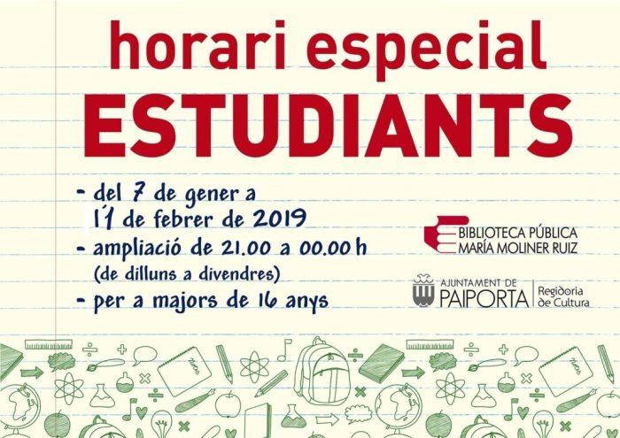 La Biblioteca Pública Maria Moliner Ruiz de Paiporta amplia horaris pels exàmens