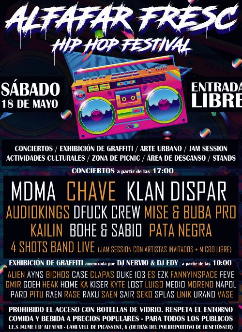 Exhibició de grafitis, art urbà i música en directe en l'II Alfafar Fresc Hip-hop Festival