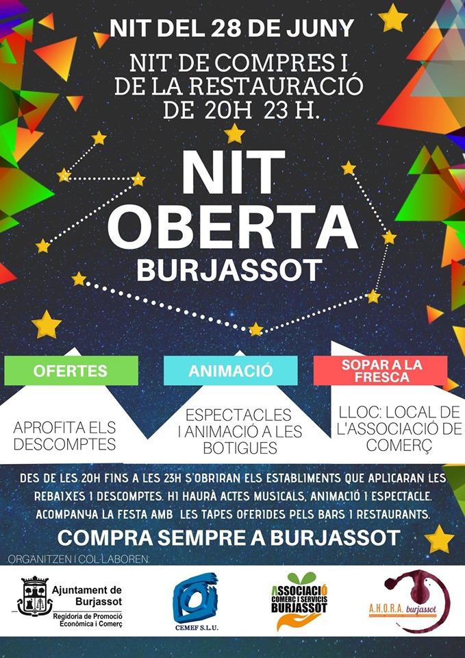 """Els comerços de Burjassot donen la benvinguda a l'estiu celebrant el seu """"Nit Oberta"""" el pròxim 28 de juny"""