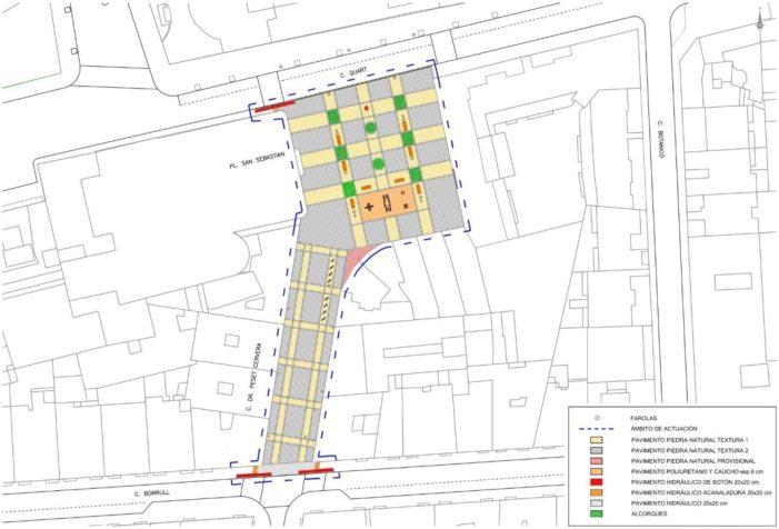 L'Ajuntament de València ha començat hui els treballs per a convertir en zona de vianants la plaça Sant Sebastià