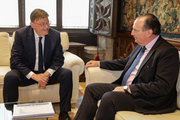 Ximo Puig es reuneix amb el president de la Cambra de Comerç de València per a tractar el preacord entre la Unió Europea i Mercosur