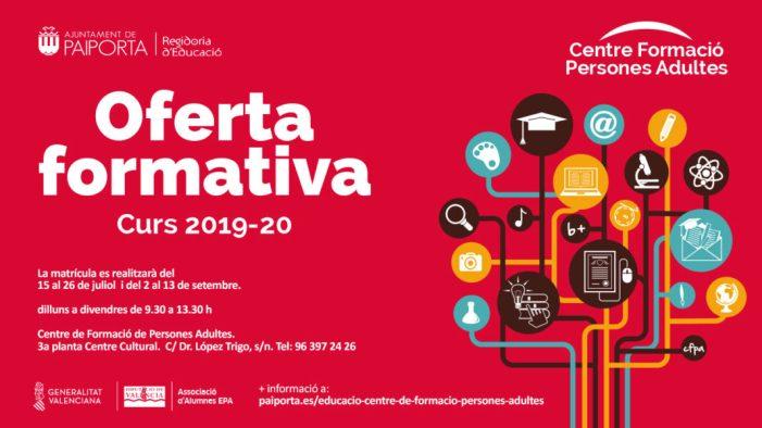 El Centre de Formació de Persones Adultes de Paiporta inicia el segon període de matrícula