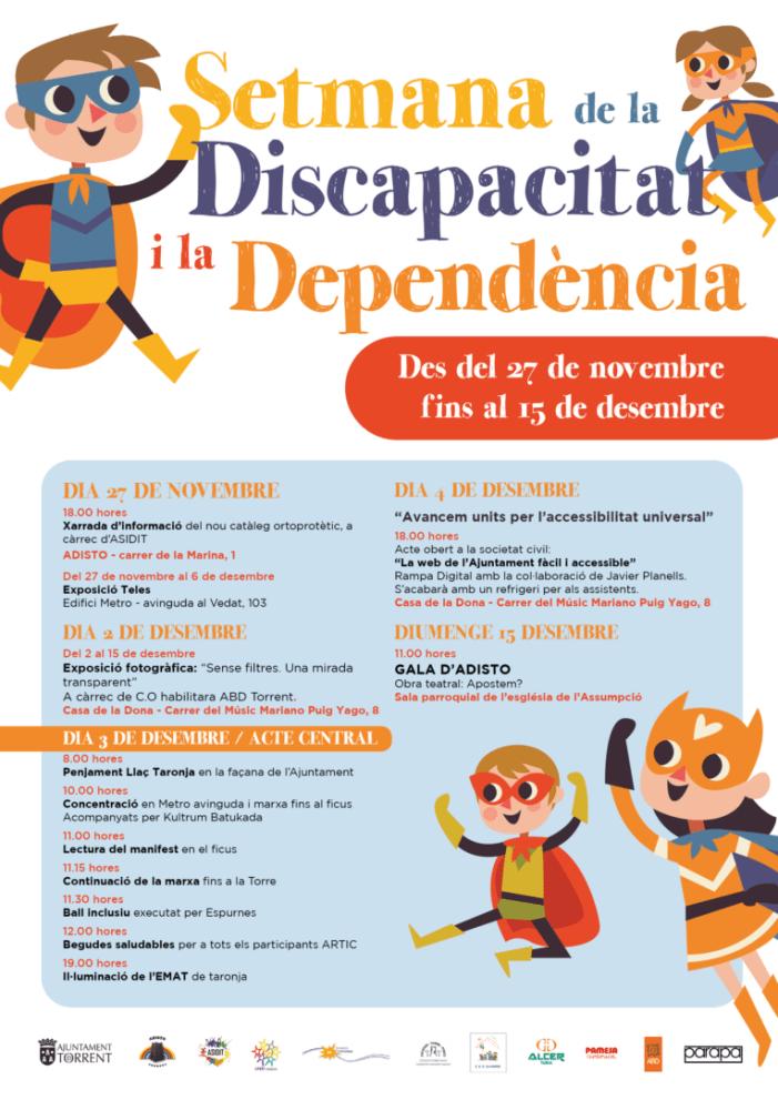 Torrent s'acoloreix de taronja per a celebrar la setmana de la Discapacitat i la Dependència
