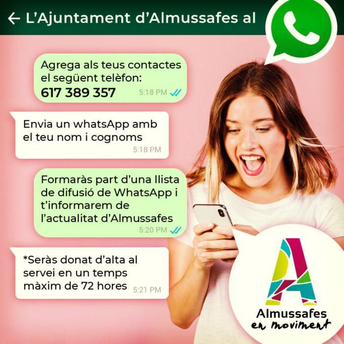 L'Ajuntament d'Almussafes crea un servei d'informació a través de WhatsApp