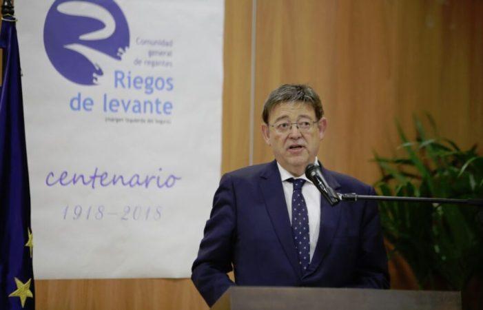 Ximo Puig advoca per establir un 'gran acord' de caràcter estatal per a garantir l'aigua per a l'agricultura