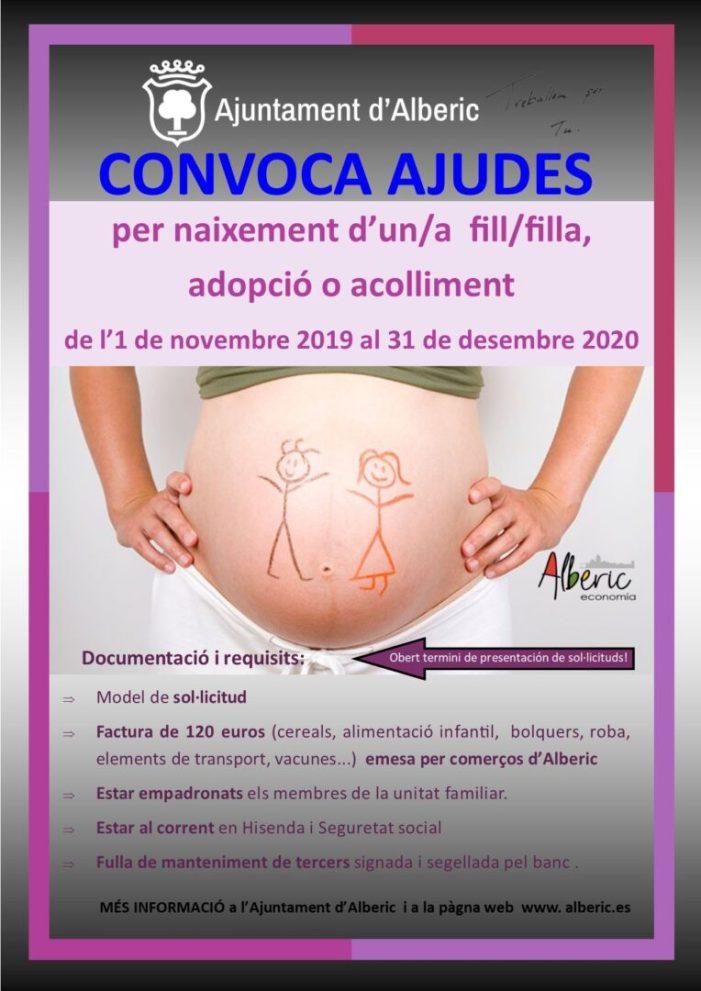 Alberic activa de nou ajudes per a potenciar la natalitat, l'adopció o l'acolliment