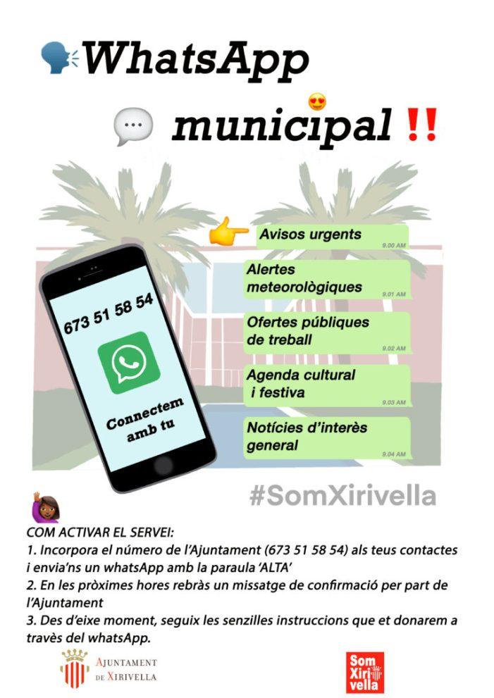 Xirivella activa el servei de Whatsapp municipal