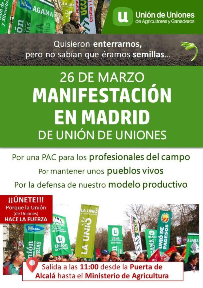 LA UNIÓ convoca als llauradors i ramaders de la Comunitat Valenciana a manifestar-se el pròxim