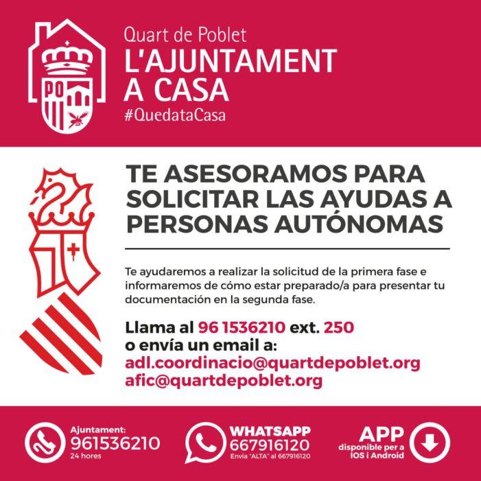 L'Ajuntament de Quart de Poblet atén a quasi un centenar de persones autònomes des de la declaració de l'Estat d'Alarma