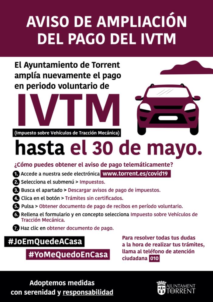 Torrent torna a ampliar el termini del pagament voluntari de l'Impost sobre vehicles de tracció mecànica fins al 30 de maig