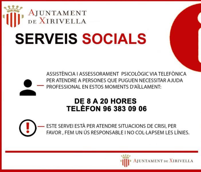 Xirivella manté actiu un servei telefònic d'atenció psicològica des del passat 24 de març