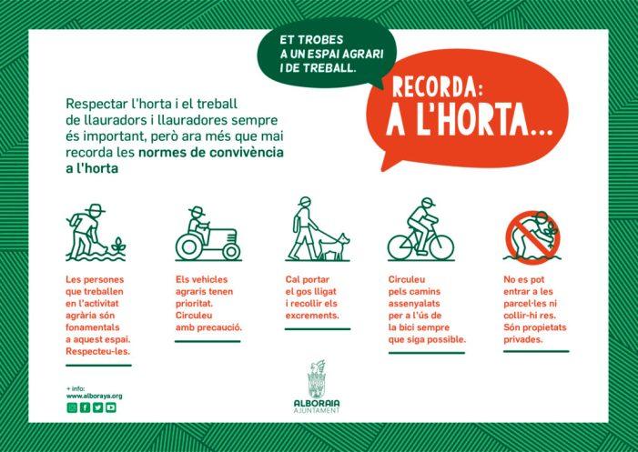 L'Ajuntament d'Alboraia llança una campanya per a conscienciar en el respecte del treball de l'horta