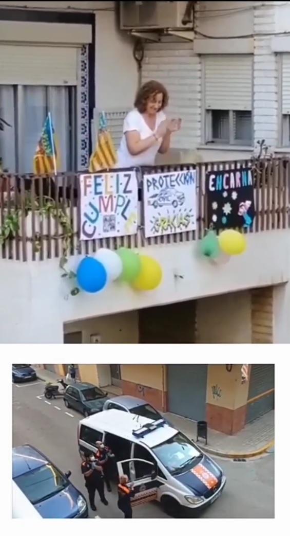 Policía Local i Protecció Civil feliciten l'aniversari a 218 persones durant el confinament