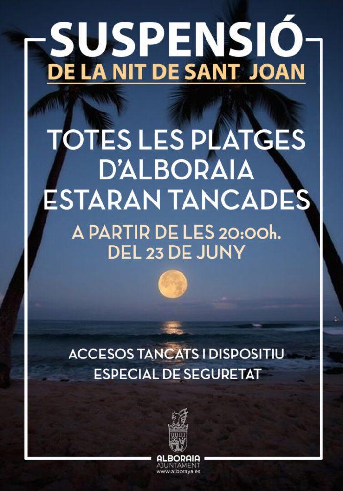 Mesures i dispositiu especial per a la suspensió de la celebració de la nit de Sant Joan en les platges d'Alboraia