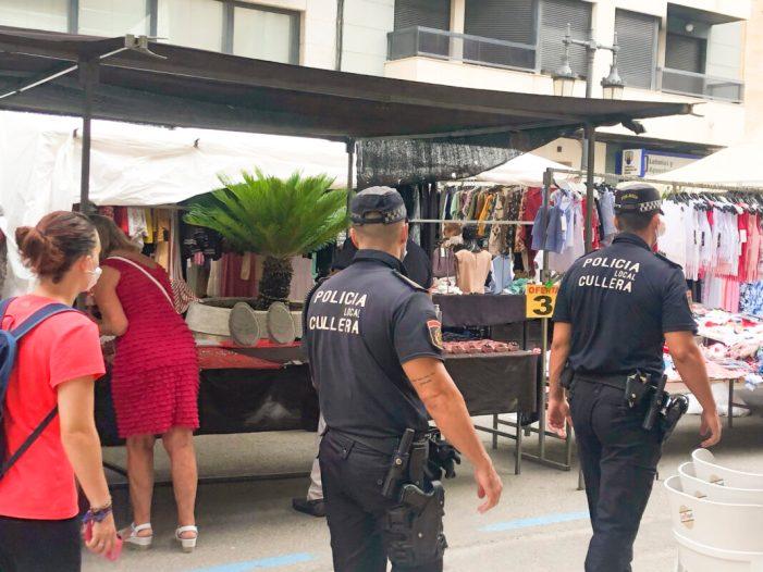La Policia de Cullera controla l'ús de la mascareta