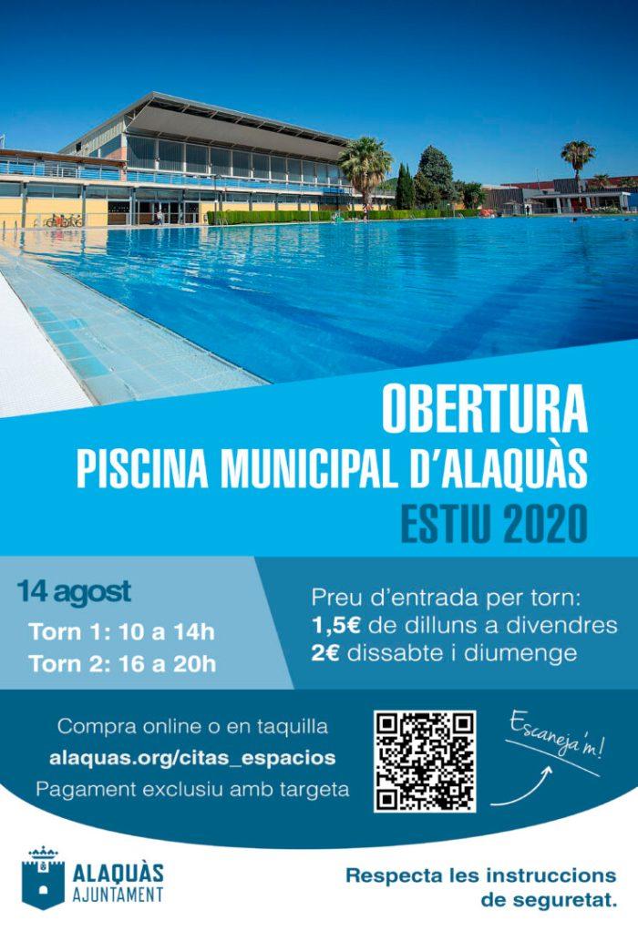 La piscina d'estiu d'Alaquàs obrirà demà 14 d'agost amb 420 metres quadrats més de gespa i millores en les instal·lacions