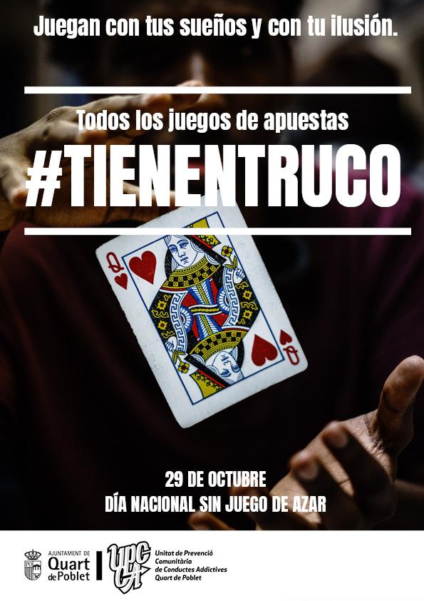 """L'Ajuntament de Quart de Poblet se suma a la campanya """"Tots els jocs d'atzar #TienenTruco"""""""