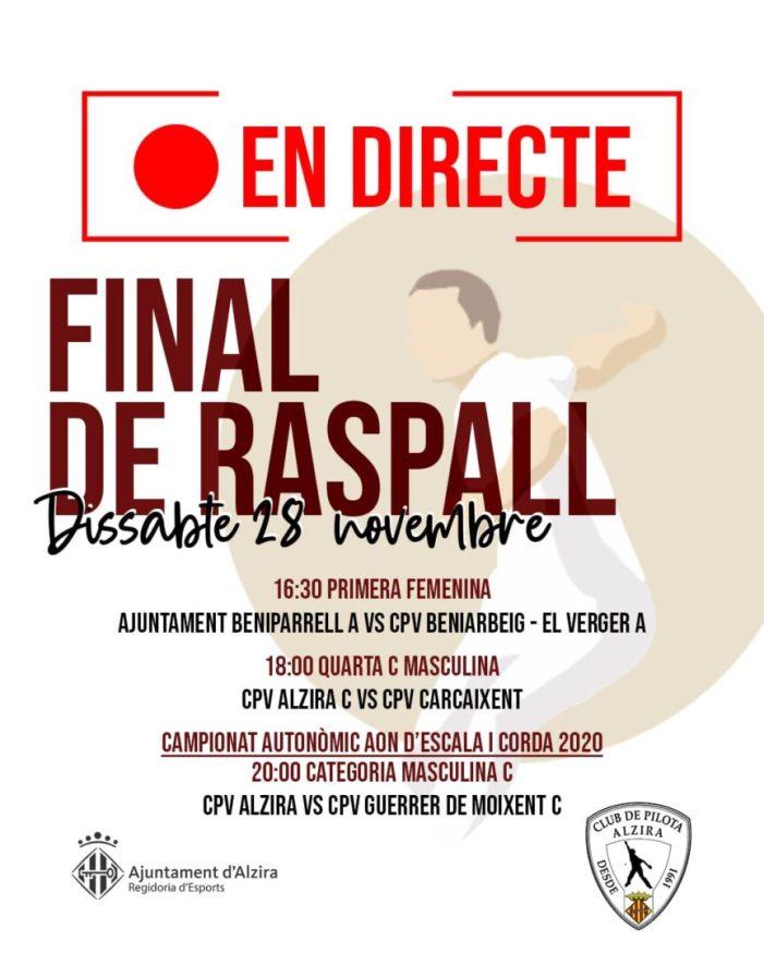 Este dissabte la Final de Raspall en directe al  Facebook del Departament d'Esports d'Alzira