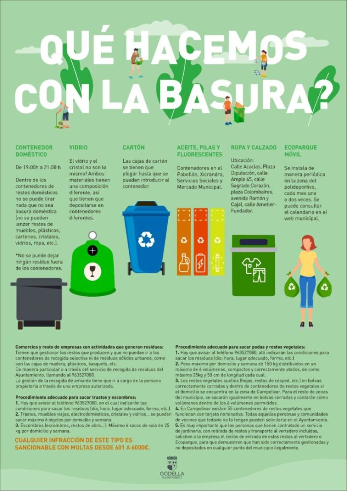 Godella recorda a la ciutadania com, quan i on ha de depositar els residus