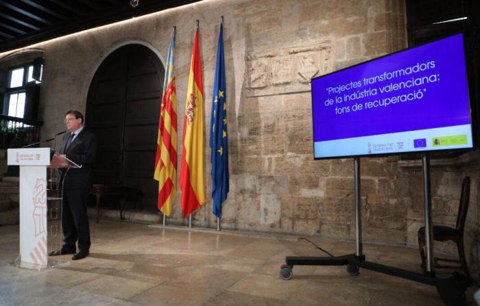 Ximo Puig anuncia el suport a 20 projectes industrials que sumen 5.500 milions d'euros d'inversió i que aspiren a captar fons europeus amb una capacitat de creació de 60.000 empleos