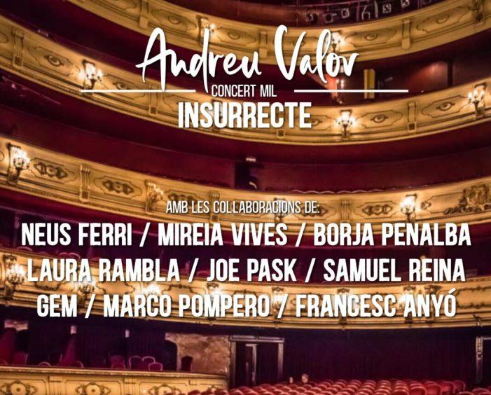 El Teatre Principal de València acollirà el concert d'Andreu Valor que commemora els seus primers mil concerts