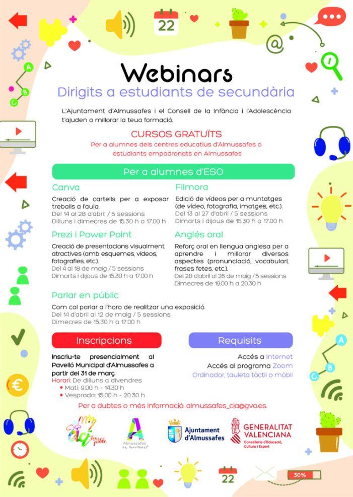 Almussafes llança una nova tanda de 'webinars' per a l'alumnat de Primària i Secundària