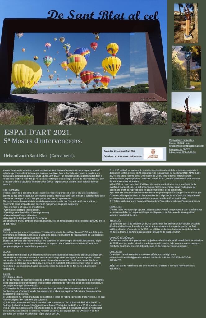 Es convoca una nova edició de Sant Blai Espai d'Art a carcaixent